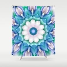 White Flower in Dimension Teal Shower Curtain