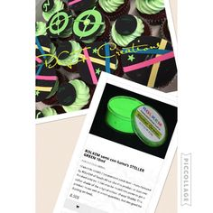 Laser Cupcakes painted with rolkem lumo stellar green available at www.dgfcreations.ca 8.50$ CAD #rolkem lumo
