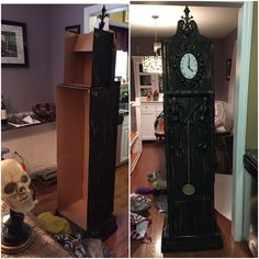 Painted & stacked cardboard boxes with glued on accents *Halloween Grandfather Clock*