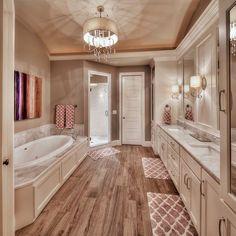 Master bathroom: hardwood floors, large tub, his and her sink - Luxury Interior Design Dream Bathrooms, Beautiful Bathrooms, Modern Bathroom, Master Bathrooms, Bathroom Rugs, Gold Bathroom, Master Baths, Small Bathrooms, Master Bathroom Plans