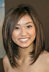 Long Bob Hairstyle... love the cut, the color, and the feminine straight style. This would look pretty on any girl - especially during the grow out phase!!! long bob style for Leah or Talia??