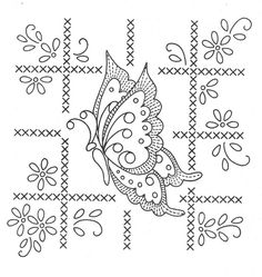butterfly square  - embroidery pattern / transfer