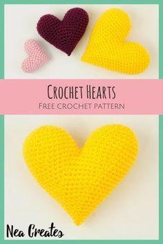 Crochet Hearts: Free Amigurumi Pattern | Nea Creates