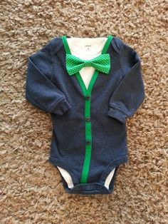 Navy Blue Baby Boy Cardigan Onesie with 2 by LinzyDawnDesigns, $30.00