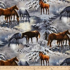 Wild Wings Crystal Glenn Scenic Blue from @fabricdotcom  Designed by Persis Clayton Weirs for Springs Creative Products Group, this cotton print is perfect for quilting, apparel and home decor accents. Colors include shades of brown, grey, white, blue, and black.