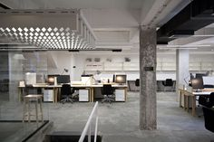 Belgrade-based architecture and design studio Petokraka have recently completed the Nova Iskra co-working space, the first design incubator in the region of Industrial Office Design, Office Space Design, Office Interior Design, Office Designs, Open Office, Bureau Design, Corporate Interiors, Office Interiors, Commercial Design