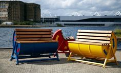 Cool rocking benches made from metal barrels!