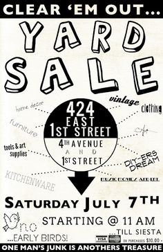 cool yard sale poster! | Typography | Pinterest | Old town, Poster ...