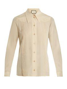 Gucci Pintuck-detail silk crepe de Chine shirt