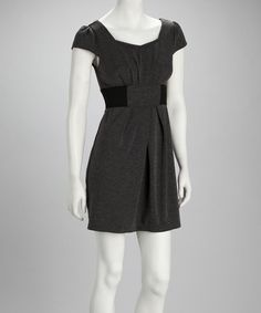 Take a look at this Black & Charcoal Cap-Sleeve Sweater Dress - Women by Ami Sanzuri on #zulily today!