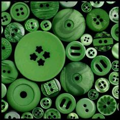 """Our Daily Challenge . buttons I have a bag of buttons in """"assorted bold colours"""". For this one I sorted out the green ones and arranged them so there were only small gaps between. The other shot shows the other colours in the bag arranged randomly. Button Art, Button Crafts, Go Green, Green Colors, Fresh Green, Mini Choses, Palette Verte, Midori, Green Button"""