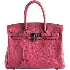 Hermes Rouge Garance Togo Birkin 30 Satchel Handbag