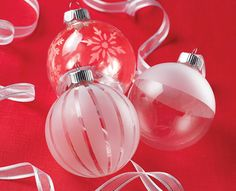 Martha Stewart Elegant Etched Glass Ornaments via Plaid!