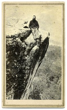 Lookout Mountain Sentry.....Carte de visite by Cadwallader & Tappen of Marietta, Ohio. A federal private is seated on Lookout Mountain, his hat laying beside him. This spot was a favorite for soldiers, families and others touring the Chattanooga battlefield during the Civil War, and continues today.