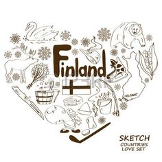 Sketch collection of Finland symbols. Heart shape concept. Travel background Vector