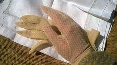 Vintage Gloves French Beige Sheer Nylon by SophieLadyDeParis