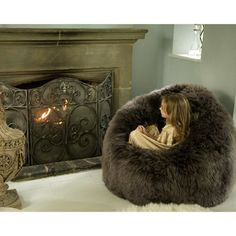 Flump Beanbag in Grey Sheepskin Fur, soft, comfortable and the perfect place to curl up and relax, anywhere in your French Styled home.