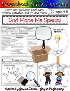 Teach your preschoolers that God made them! This resource includes print-and-go lesson plans with stories, activities, crafts, and more - perfect for the busy teacher, Sunday School leader, or homeschooling parent.  Through these activities children will learn that God created them on purpose and for a purpose. They will leave assured that He loves them, just as they are.