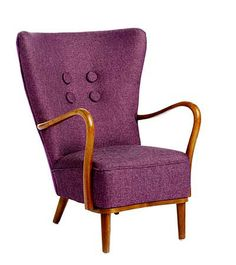 SewPlush | Restored funiture and furnishings. Gorgeous 1950's Danish open armed easy chair in linen with a velvet back.