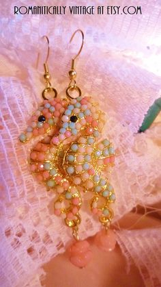 Seahorse Beaded Earrings Coral Rose Beach by RomanticallyVintage, $12.00