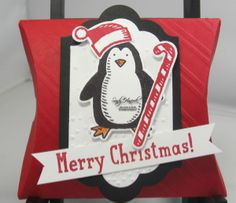 by Sandy: Snow Place, Square Pillow Box Thinlits, Snow Friends framelits, Lots of Labels framelits, & more - all from Stampin' Up!