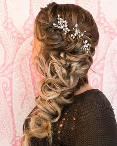 Wedding Cake Strain Good For Anxiety. Wedding Hairstyles Curls To The Curled Wedding Hair, Wedding Hairstyles For Long Hair, Formal Hairstyles, Braided Hairstyles, Bridesmaid Hair, Prom Hair, Braid Styles, Short Hair Styles, Sweet 16 Hairstyles