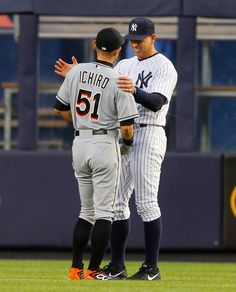Ichiro Suzuki #51 of the Miami Marlins talks with Alex Rodriguez #13 of the New York Yankees before their game at Yankee Stadium on June 18, 2015 in the Bronx borough of New York City. (June 17, 2015 - Source: Jim McIsaac/Getty Images North America)