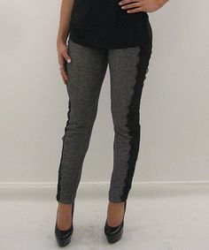 Look what I found on #zulily! Heather Gray & Black Lace-Stripe Leggings by Soul Harmony Energy #zulilyfinds