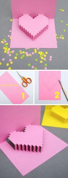 Kids Crafts diy valentine crafts for kids Diy Valentine's Cards For Him, Valentine's Cards For Kids, Gifts For Kids, Cards Diy, Diy Popup Cards, Paper Cards, Popup Cards Tutorial, Folded Cards, Handmade Cards