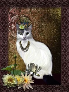 An Ode to Bastet - Lola Feline portrait of the beautiful Diva in an Egyptian inspired scenario - or rather Art Déco! Kliban Cat, Dog Art, Egyptian, Cute Cats, Diva, Art Deco, Fantasy, Inspired, Portrait