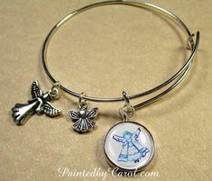 Angel Charm Bracelet  Angel Silhouette by PaintedbyCarol on Etsy