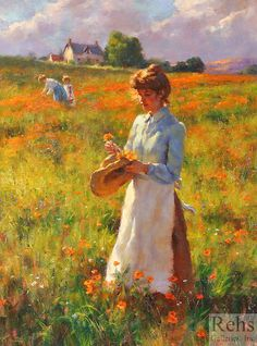 Flower Garden Young Woman in the Garden Francis Coates Jones - No dates listed Private collection Painting - oil on canvas H