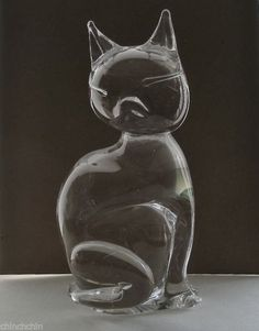 """MODERN 8"""" Signed ABSOLUTELY Incredible MURANO Art Glass CAT SCULPTURE with LABEL"""