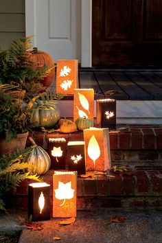 Bag Some Leaves - Fabulous Fall Decorating Ideas - Southernliving. Cast an inviting glow on your steps using paper bags stenciled with the shapes of fall foliage taken right from your own trees. How To Make It: Paper Bag Luminaries
