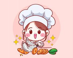 Female chef cut carrot vegetable cooking in kitchen cartoon Girl Cartoon Characters, Cute Characters, Cartoon Kunst, Cartoon Art, Kitchen Cartoon, Turkey Cartoon, Cute Bakery, Cartoon Chef, Love Cartoon Couple