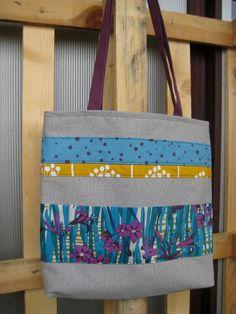 Sac Rubans Giverny, brun et fleurs bleues et violettes, Fée Home pour Etsy, €49,00