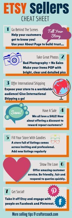 INFOGRAPHIC - Etsy Sellers Cheat Sheet: 7 Tips for Selling on Etsy in 2015. Click to read more at http://craftercoach.com