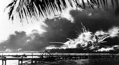 Destroyer USS Shaw exploding during the Japanese attack on Pearl Harbor, December 7, 1941