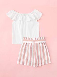 Onefa Toddler Baby Girl Christmas Cartoon Ruffles Long Sleeve Print Dot Dress Clothes