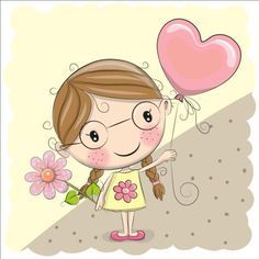 LITTLE GIRL WITH HEART BALLOON