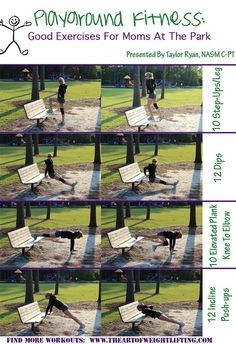 A great Mommy workout at the playground. Its four exercises that are all really intense and very effective at burning fat. calisthenics ab-workout