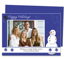 Photo Cards : Frosty Christmas Holiday Photo Card Template