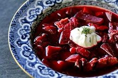Borscht (beet soup) - From Eastern Europe and I am told I do not know what I am missing by not eating this. I think you are suppose to add a dollop of sour cream to it.