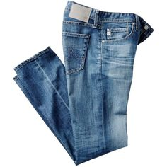 AG The Matchbox Slim-Leg Jeans Jeans ❤ liked on Polyvore featuring jeans, pants, bottoms, slim leg jeans, denim jeans, ag+adriano+goldschmied jeans, light weight denim jeans and blue jeans