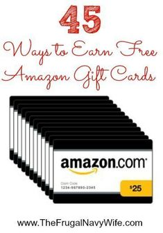 45 Ways to Earn Free Amazon Gift Cards - The Frugal Navy Wife make extra money, ideas to make extra money