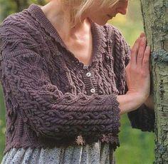Ladies Aran lace edged shorter cardigan knitting pattern - beautiful and stylish | eBay