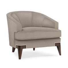 Maggie Modern Barrel Back Chair with Channel Tufted Back and Chrome Nail Head Accents by Schnadig at Olinde's Furniture French Furniture, Large Furniture, Quality Furniture, Sofa Furniture, Sofa Chair, Armchair, Luxury Furniture, Art Deco Sofa, Classic Sofa