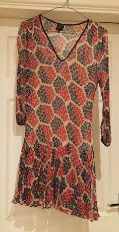 c4ecccc8be307 Kate Moss Topshop floral blue red flapper dress size 10 #fashion #clothing  #shoes