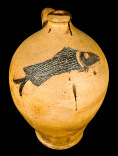 Ohio Stoneware Jug w/ Incised Fish
