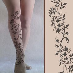 Large / Extra Large  Sexy FLORAL Swirl  Tattoo by TightsShop